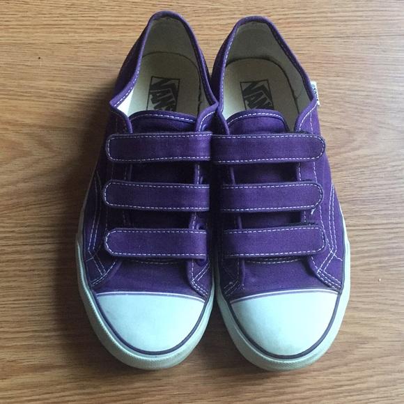 Vans Shoes | Purple Velcro Vans | Poshmark